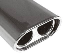 Fox Anschweißendrohr Typ 58 135x80 mm / Länge: 300 mm - oval / eingerollt / 15° abgeschrägt / mit D