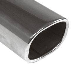 Fox Anschweißendrohr Typ 70 78x75 mm / Länge: 200 mm - rechteckig abgerundet / eingerollt / 15°abge