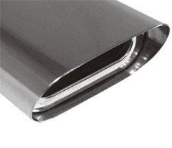 Fox Anschweißendrohr Typ 51 150x70 mm / Länge: 300 mm - Flachoval / uneingerollt / 15° abgeschrägt