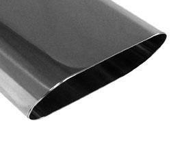 Fox Anschweißendrohr Typ 50 150x70 mm / Länge: 300 mm - Flachoval / uneingerollt / 15° abgeschrägt