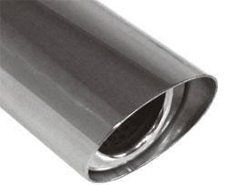 Fox Anschweißendrohr Typ 31 106x71 mm / Länge: 300 mm - oval / uneingerollt / 15° abgeschrägt / mit
