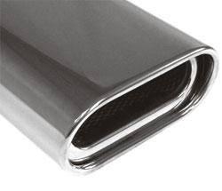 Fox Anschweißendrohr Typ 53 150x70 mm / Länge: 300 mm - Flachoval / eingerollt / 15° abgeschrägt / m