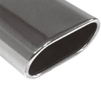 Fox Anschweißendrohr Typ 52 130x50 mm / Länge: 230 mm - Flachoval / eingerollt / 15° abgeschrägt /